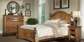 Durham Furniture Hudson Falls Collection - Arched Panel Bed, Aged Wheat Finish