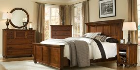 Durham Furniture Hudson Falls Collection - Panel Bed, Antique Rye Finish