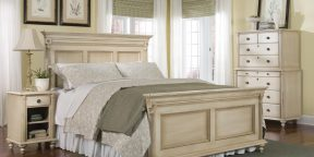 Durham Furniture Savile Row Collection (Antique Cream) - Panel Bed, Chest on Chest and Open Night Stand